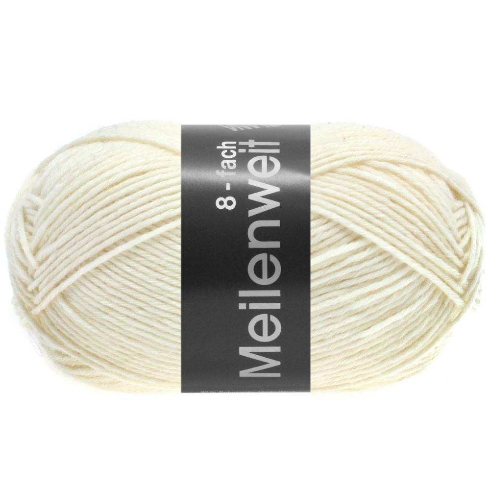 Lana Grossa MEILENWEIT 8-FACH 100g Uni | 9560-hvid