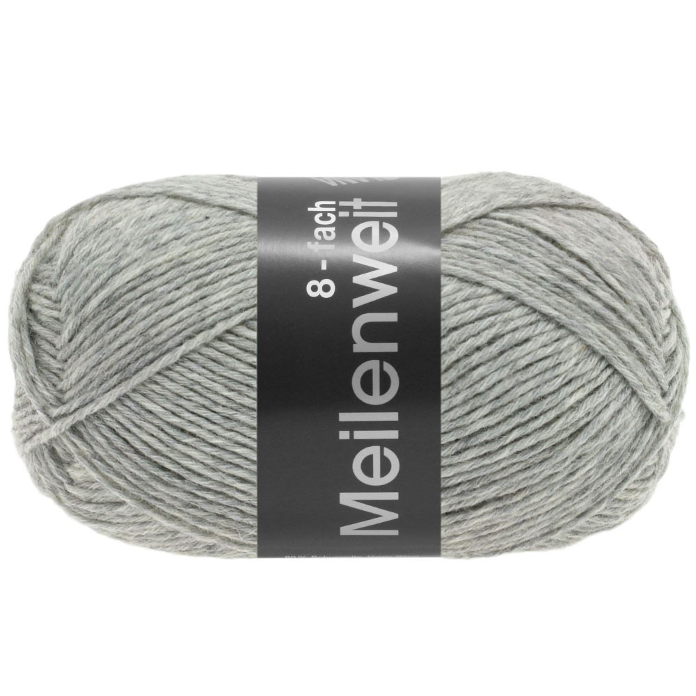 Lana Grossa MEILENWEIT 8-FACH 100g Uni | 9564-lysegrå meleret