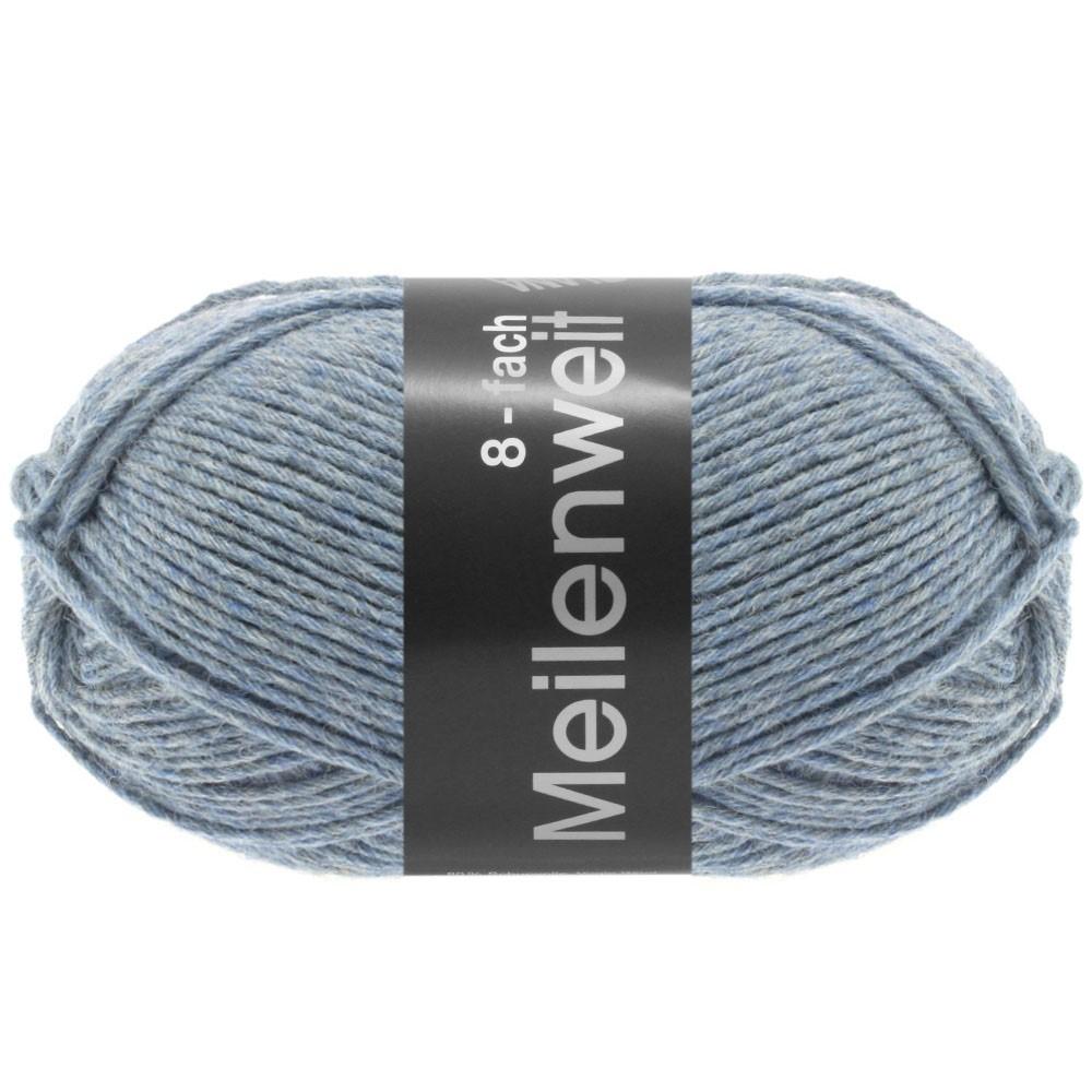 Lana Grossa MEILENWEIT 8-FACH 100g Uni | 9659-gråblå meleret