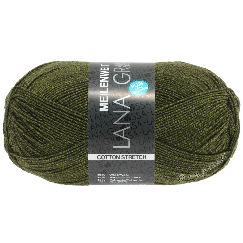 Lana Grossa MEILENWEIT 100g Cotton Stretch | 8048-olivengrøn