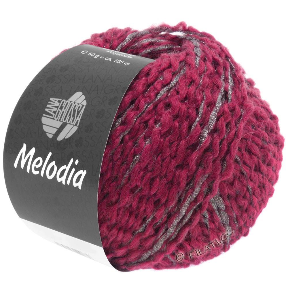 Lana Grossa MELODIA | 06-purpurrød/sølv