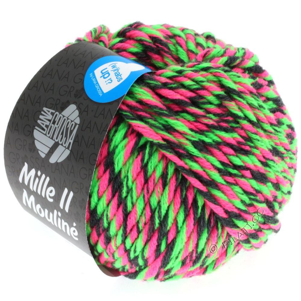 Lana Grossa MILLE II Color/Moulinè   602-neon pink/neon grøn/antracit