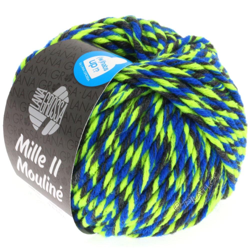Lana Grossa MILLE II Color/Moulinè | 603-antracit/neon gul/blå