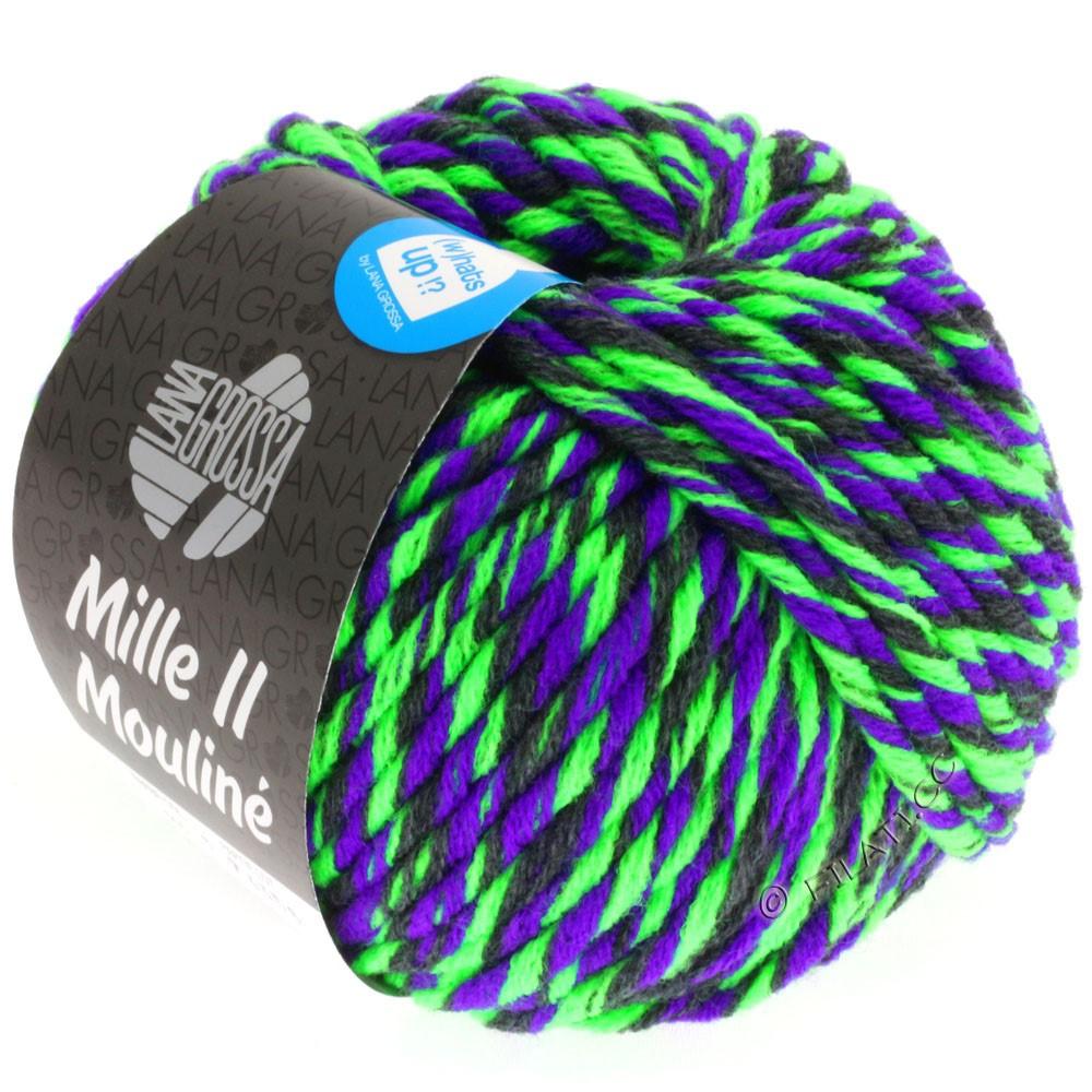 Lana Grossa MILLE II Color/Moulinè | 605-neon grøn/violet/antracit