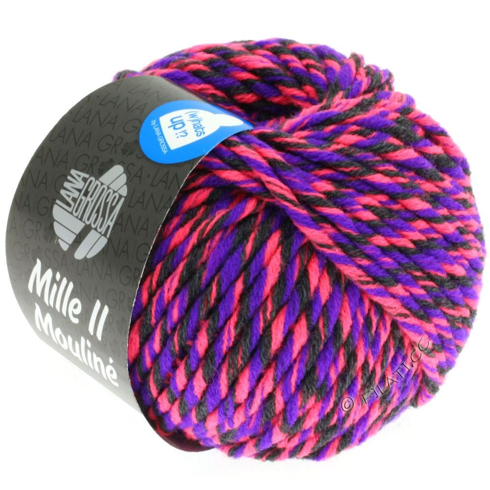 Lana Grossa MILLE II Color/Moulinè | 606-neon pink/violet/antracit