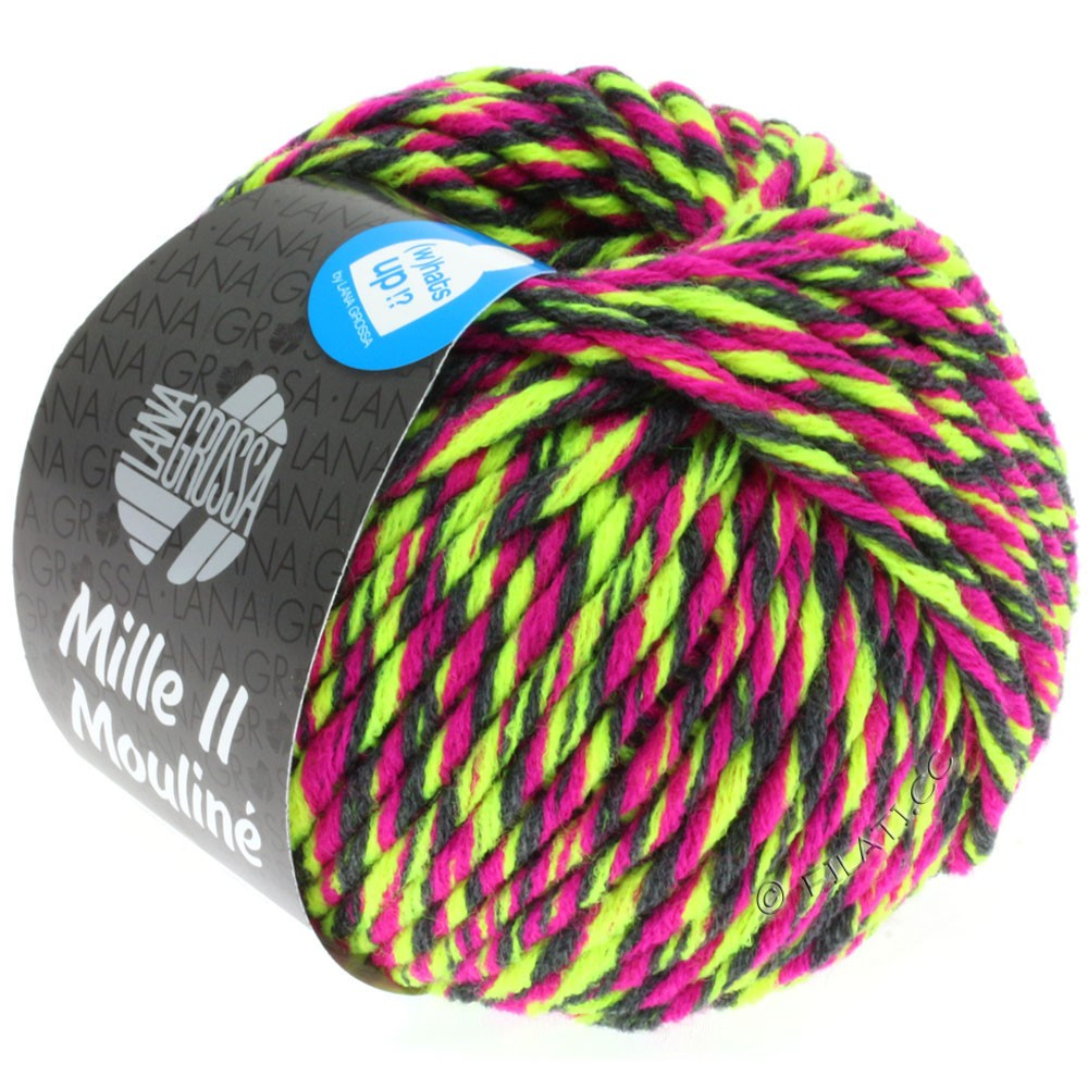 Lana Grossa MILLE II Color/Moulinè | 607-neon gul/cyklamen/antracit