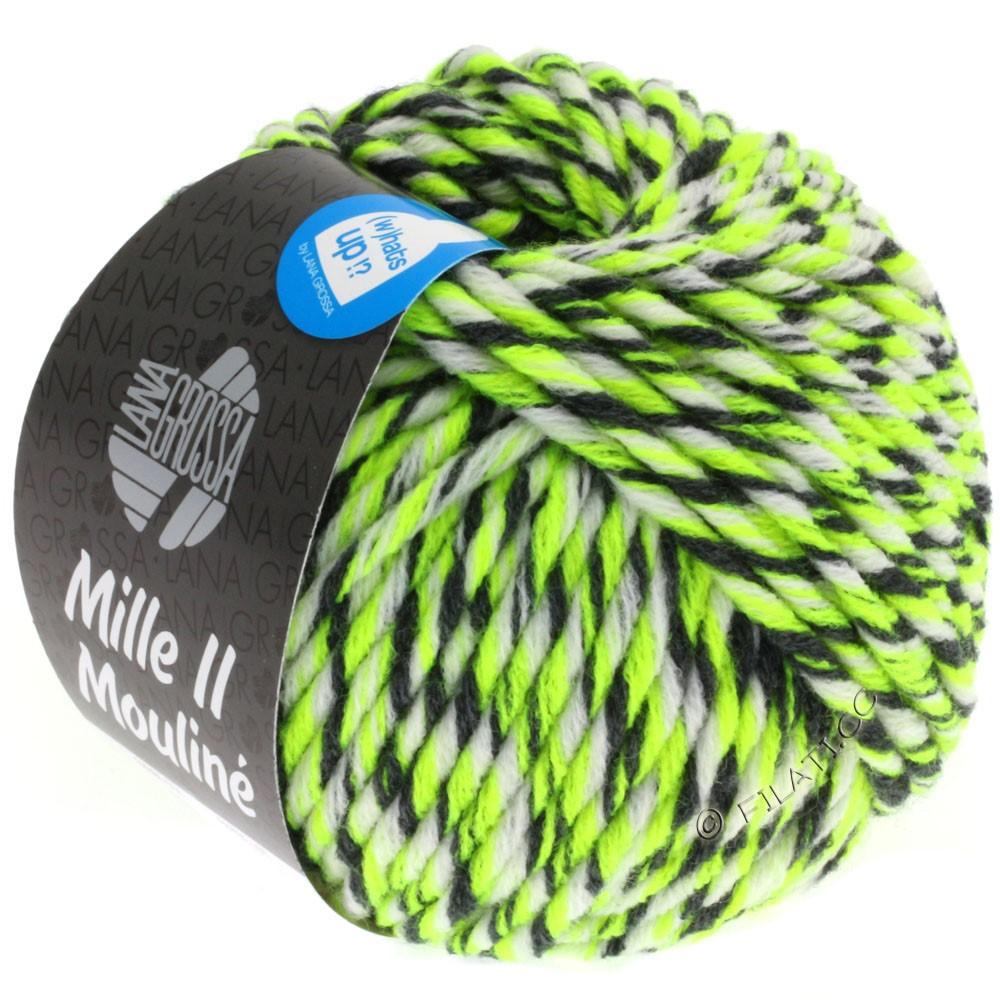 Lana Grossa MILLE II Color/Moulinè | 608-neon gul/hvid/antracit