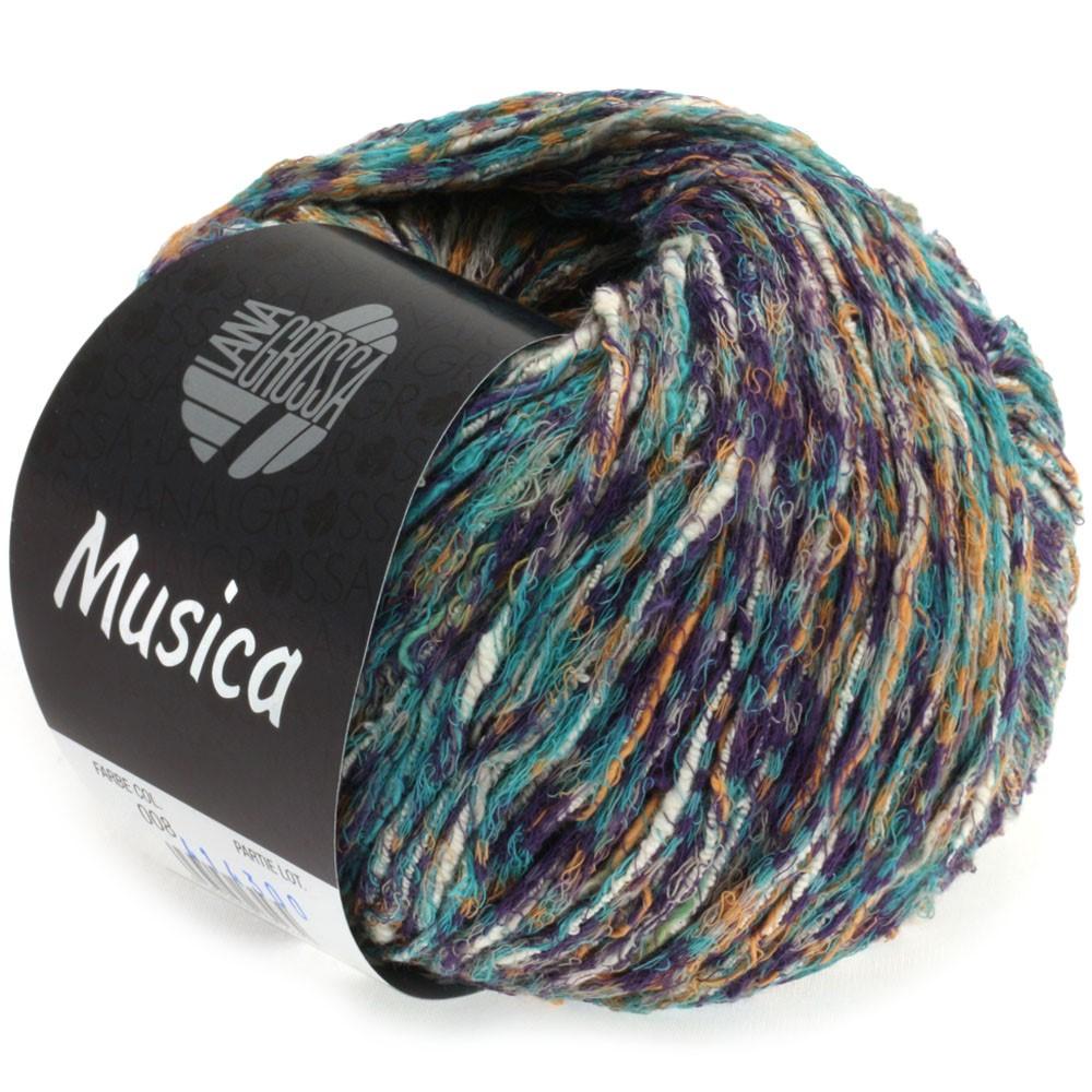 Lana Grossa MUSICA | 08-grågrøn/aubergine/kamel/hvid