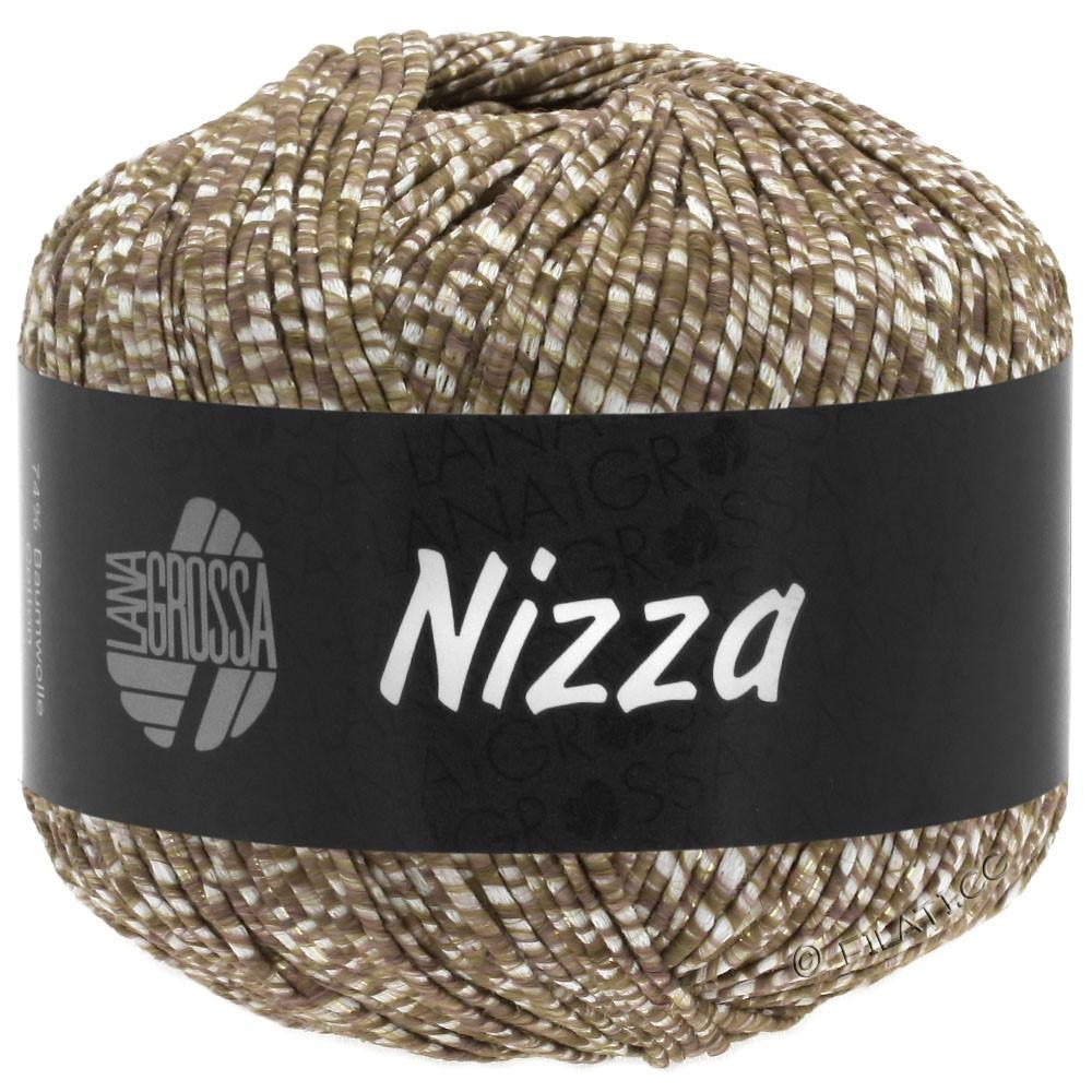 Lana Grossa NIZZA | 10-hvid/gråbrun/gylden