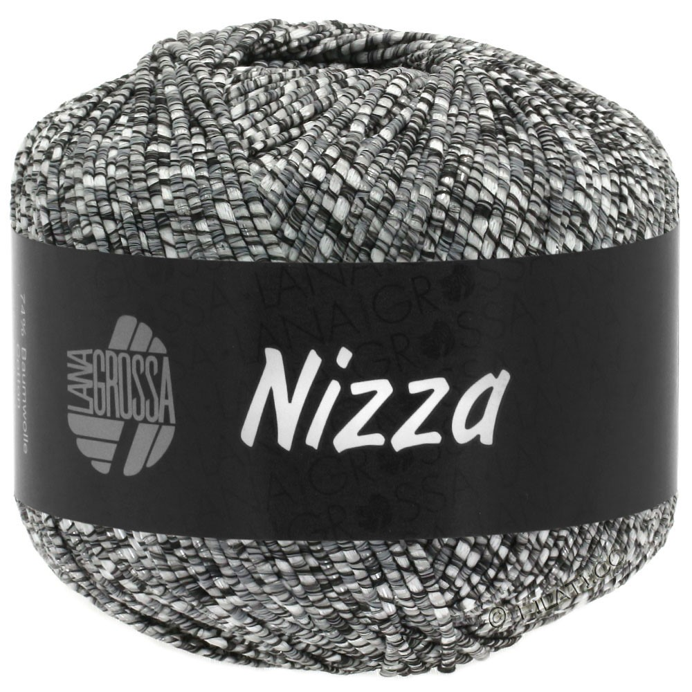 Lana Grossa NIZZA | 11-natur/mørkegrå/sølv