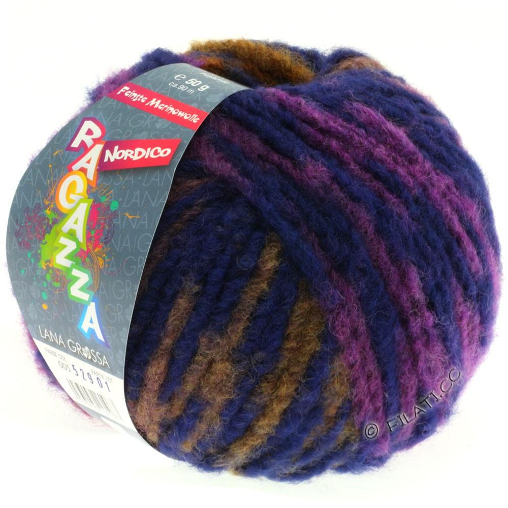 Lana Grossa NORDICO (Ragazza) | 05-rødviolet/blå violet/kamel