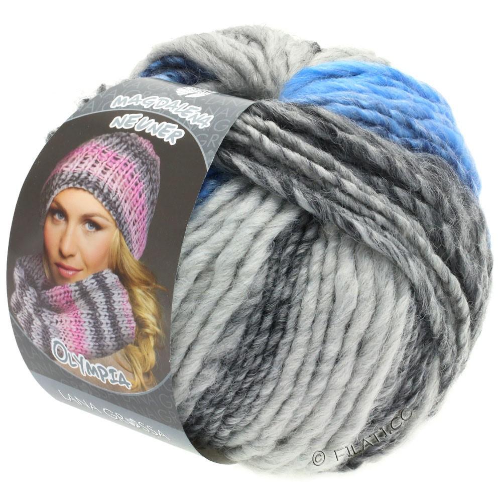 Lana Grossa OLYMPIA Grey | 802-mørkegrå/lysegrå/jeans/kornblomst