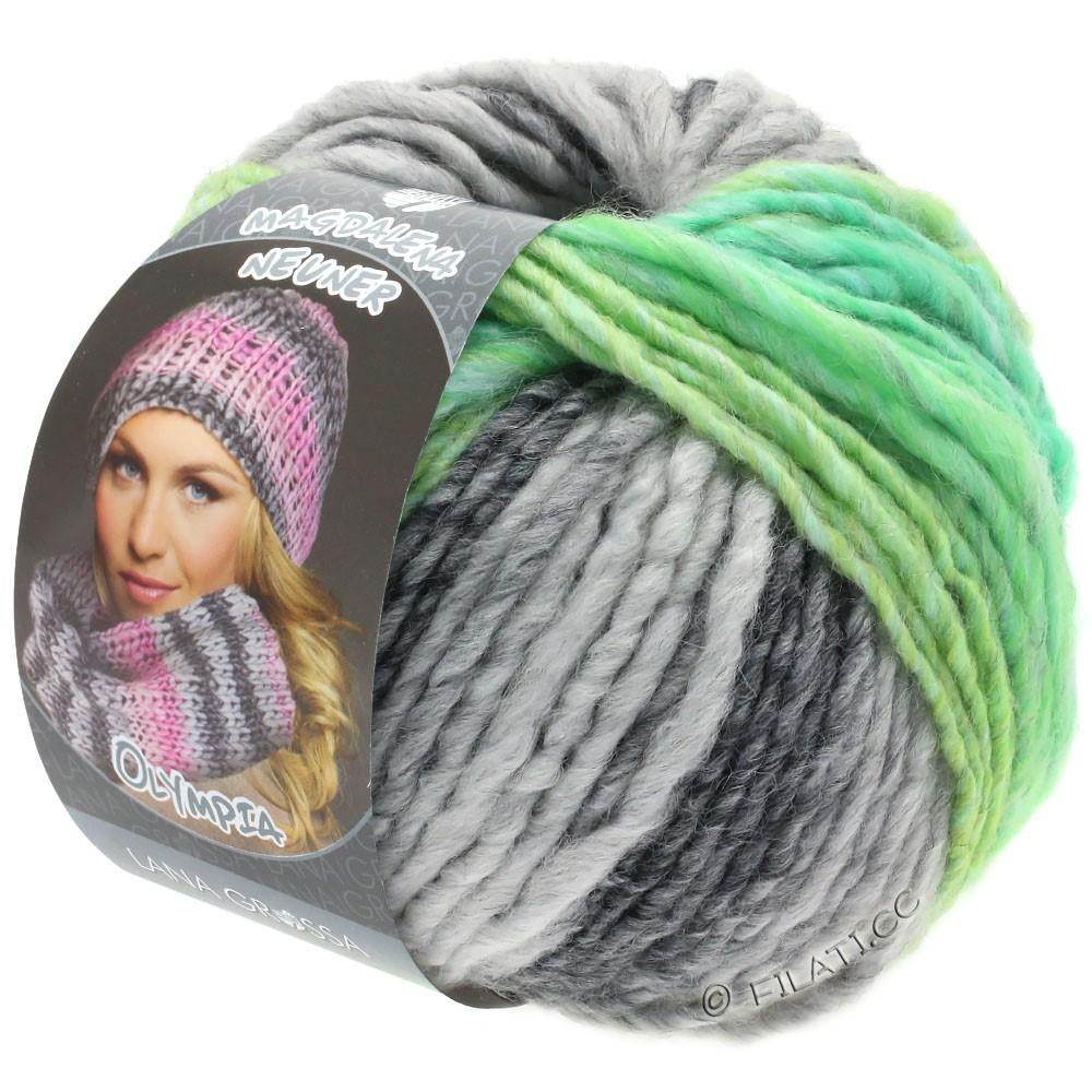 Lana Grossa OLYMPIA Grey | 803-mørkegrå/lysegrå/gulgrøn/jade-grønne