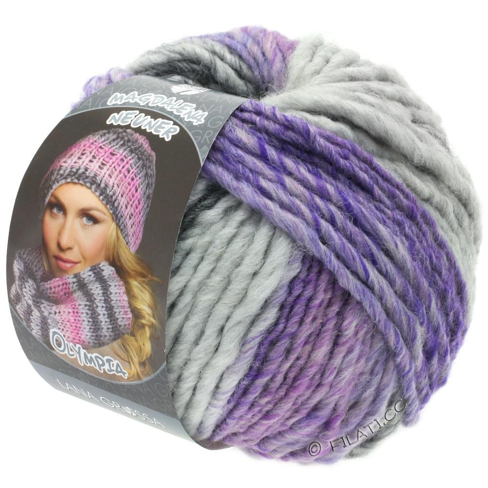 Lana Grossa OLYMPIA Grey | 804-mørkegrå/lysegrå/lavendel/rødviolet