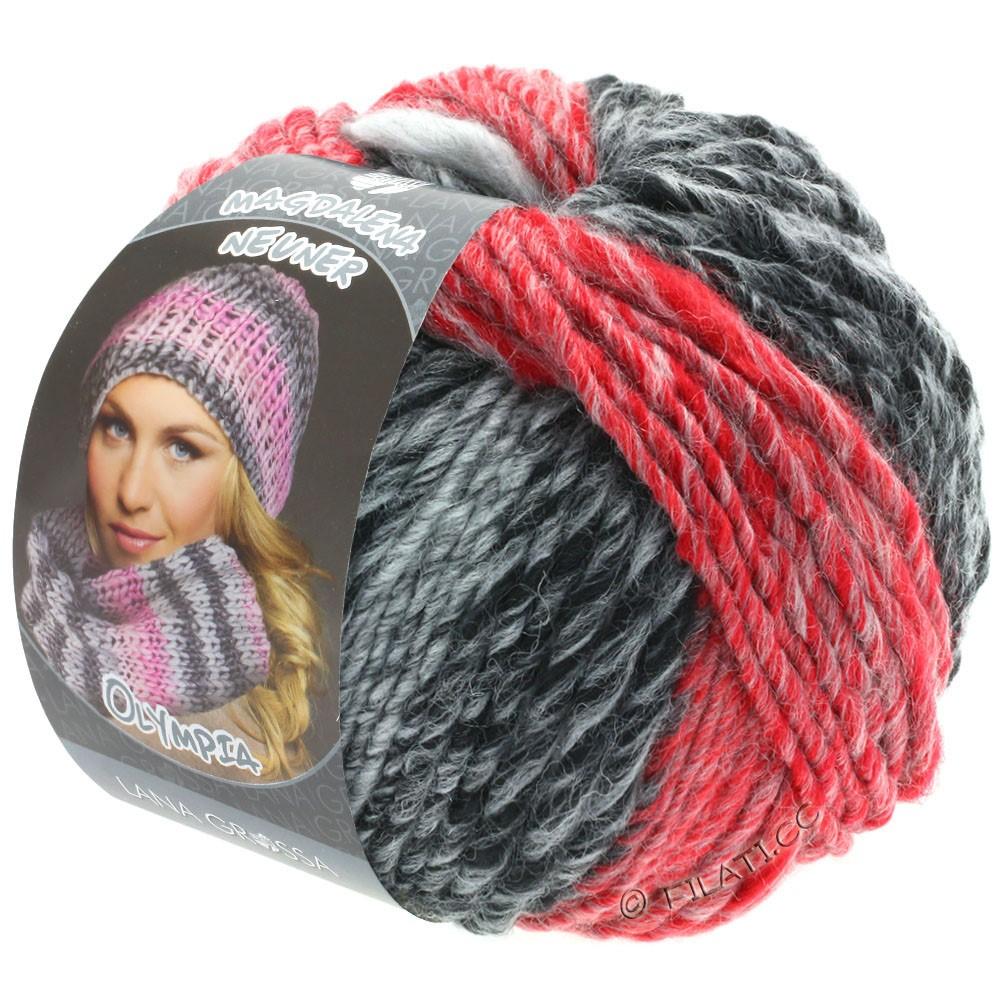 Lana Grossa OLYMPIA Grey | 807-antracit/mørkegrå/lysegrå/rød/mørkerød