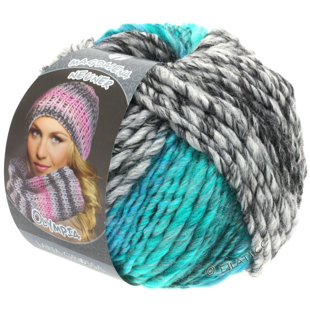 Lana Grossa OLYMPIA Grey | 808-antracit/mørkegrå/lysegrå/turkisgrøn/turkisblå