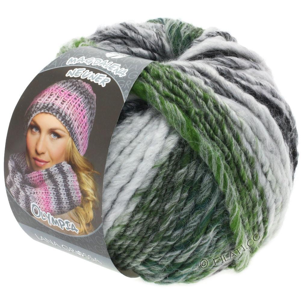 Lana Grossa OLYMPIA Grey | 811-antracit/mørkegrå/lysegrå/mosgrøn meleret