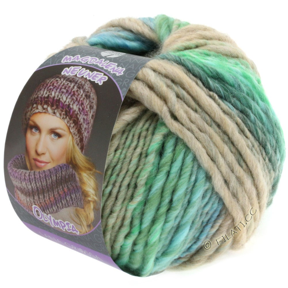 Lana Grossa OLYMPIA Pastello | 608-lysegrøn/mørkegrøn/lyseblå/koboltblå/beige/mynte
