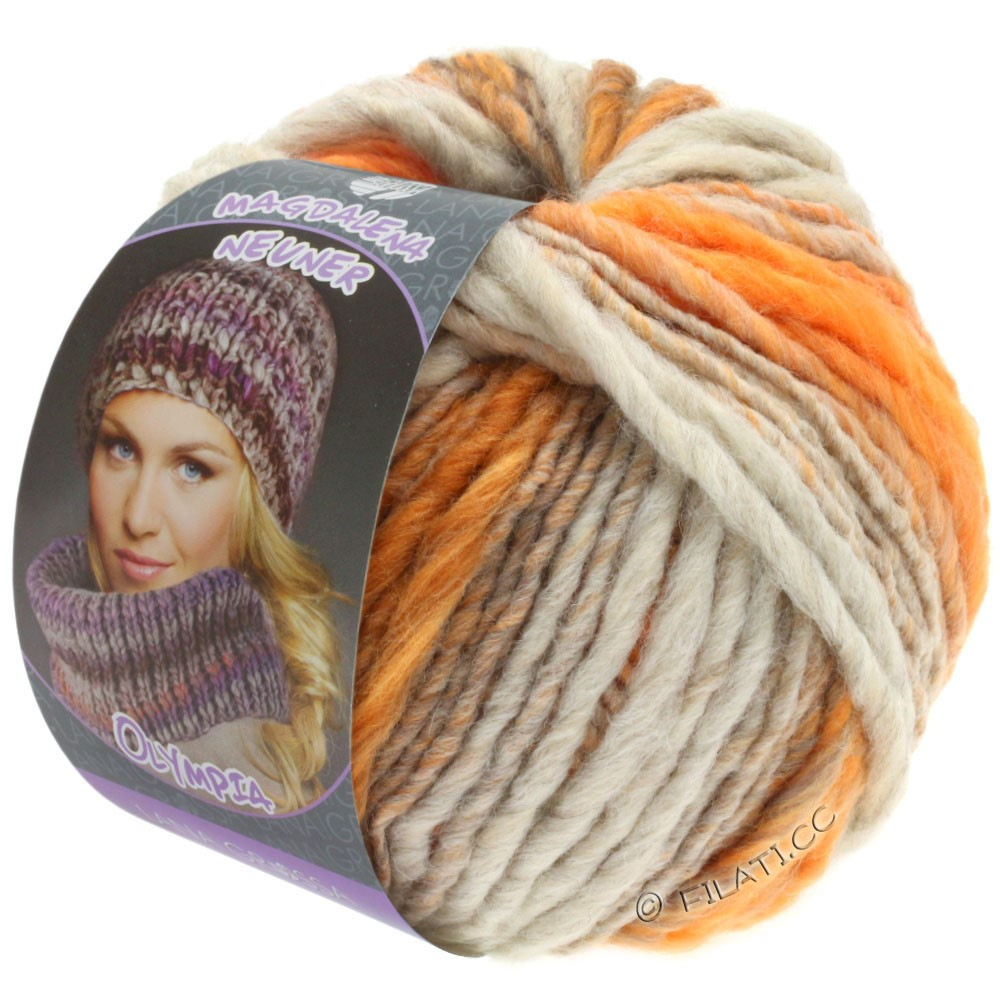 Lana Grossa OLYMPIA Pastello | 611-lysegrå/orange/brunorange/gråorange