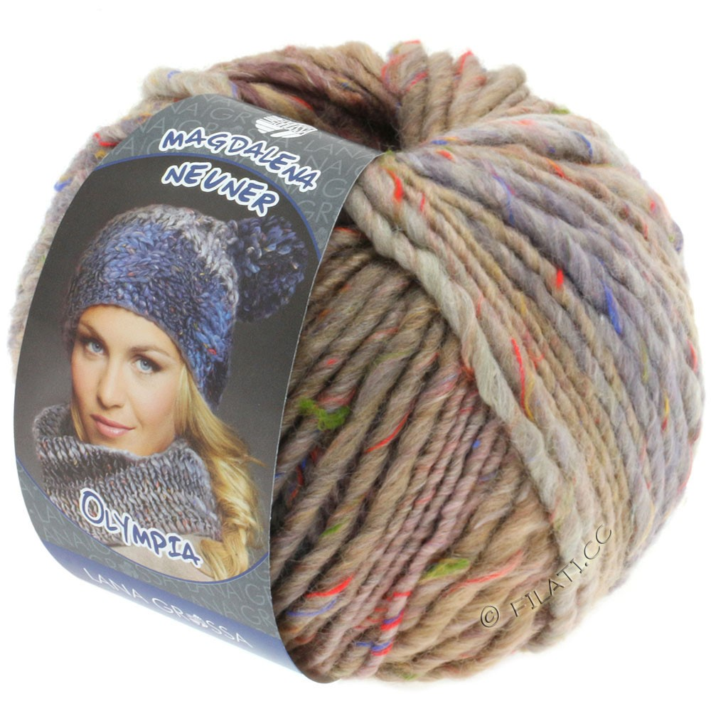 Lana Grossa OLYMPIA Tweed | 703-beige/lilla/grå meleret
