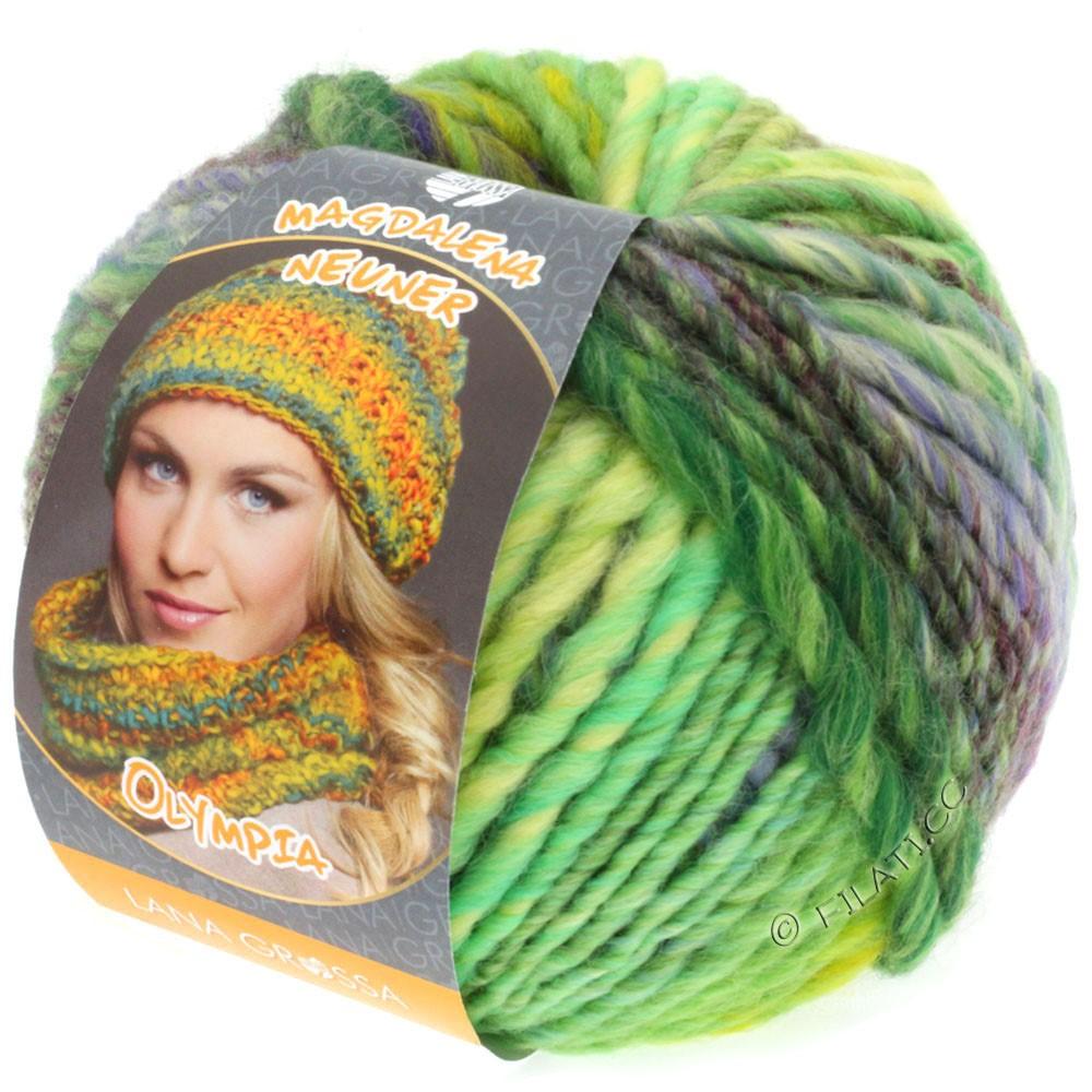 Lana Grossa OLYMPIA Classic | 051-lysegrøn/smaragd/violet/mørkegrøn/rødpurpur/grøngul