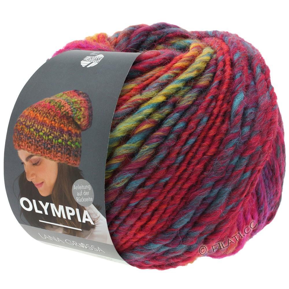 Lana Grossa OLYMPIA Classic | 062-rød/blå/petrol/lysegrøn/mørkerød