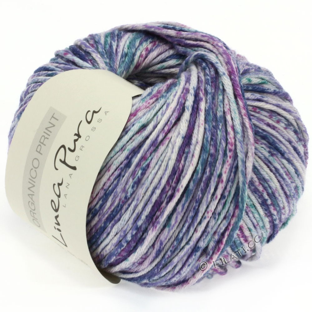 Lana Grossa ORGANICO Print (Linea Pura) | 206-natur/violet/petrol/jeans