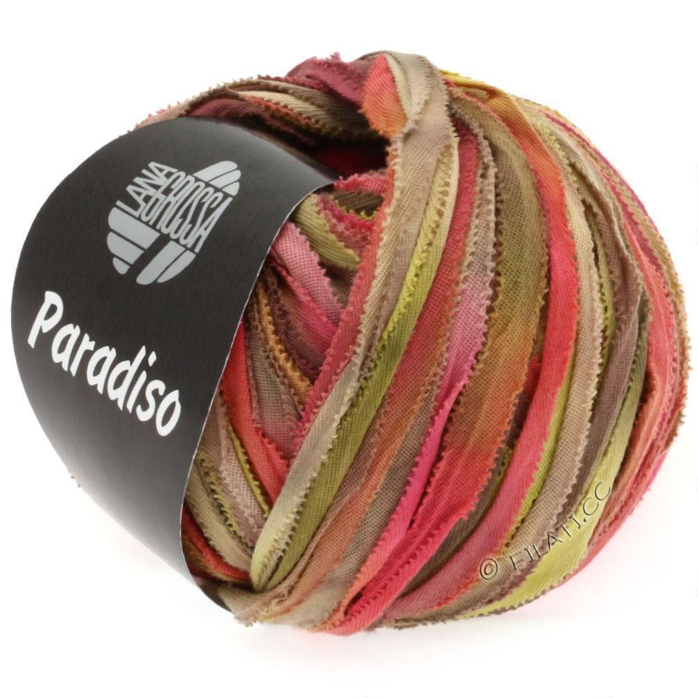 Lana Grossa PARADISO Uni/Print | 303-teglstensrød/sennep/beige/gråbrun/kaki