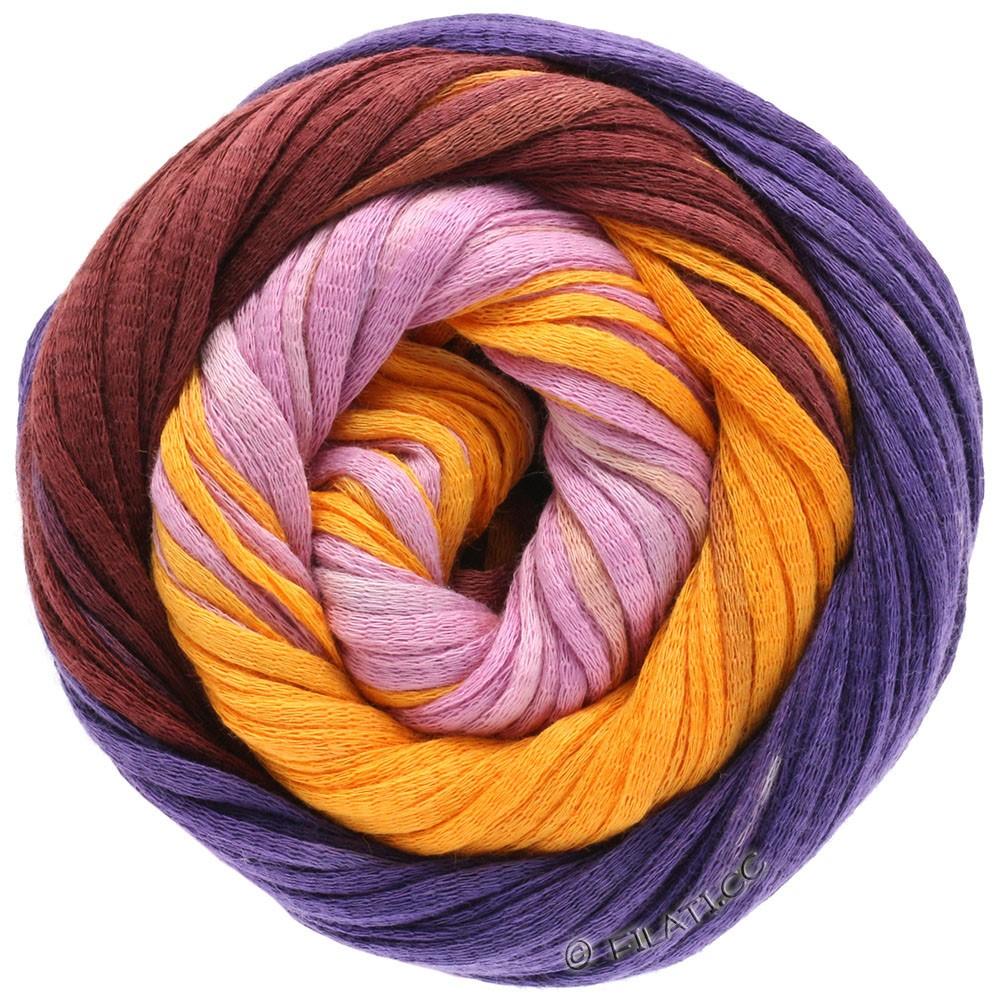 Lana Grossa PRIMAVERA | 127-blommer blå/burgund/melonegul/rødpurpur