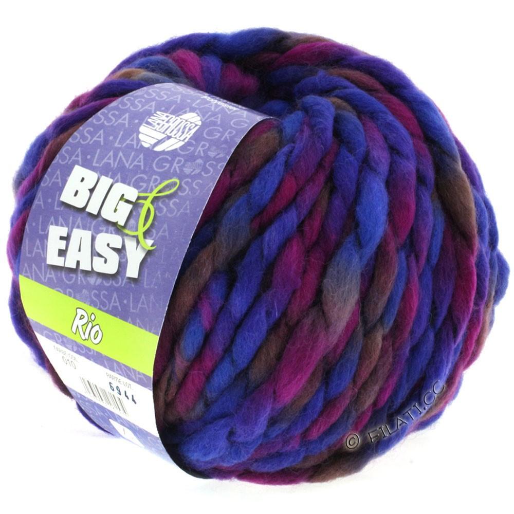 Lana Grossa RIO (Big & Easy) | 10-blå violet/rødviolet/blomme