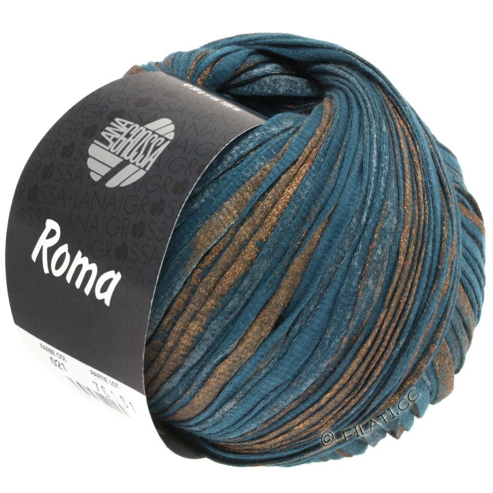Lana Grossa ROMA | 021-petrol blå/kobber/sølv