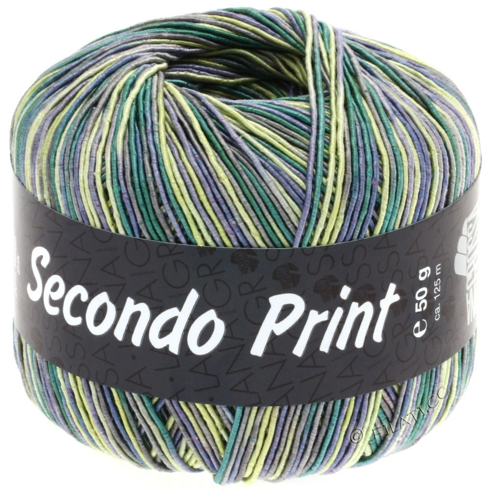 Lana Grossa SECONDO Print II | 506-jeans/gul/smaragd/mørkegrå
