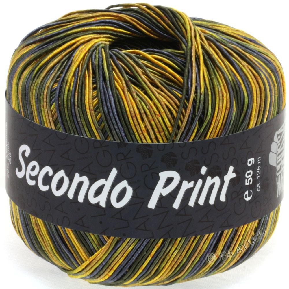 Lana Grossa SECONDO Print II | 514-gul/mørkoliven/natblå