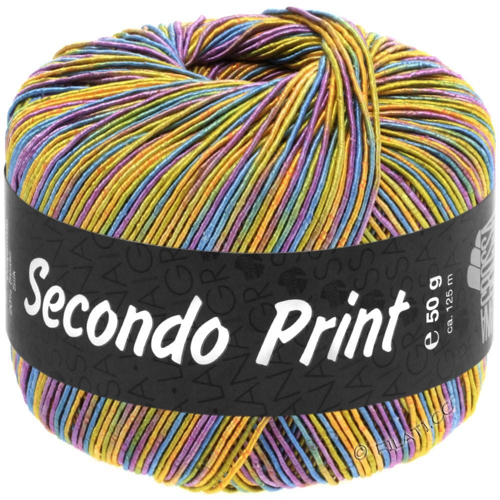 Lana Grossa SECONDO Print II | 518-abrikos/gyldengul/turkisblå/violet