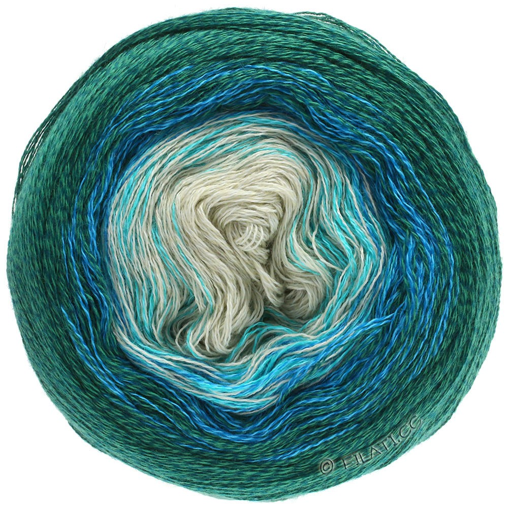 Lana Grossa SHADES OF MERINO COTTON | 401-myntegrøn/turkis/kongeblå/smaragd