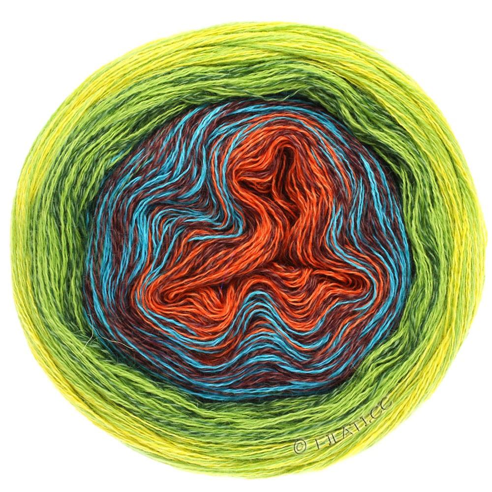 Lana Grossa SHADES OF MERINO COTTON | 602-ruste/rødbrun/turkis/mørkegrøn/lysegrøn/gul
