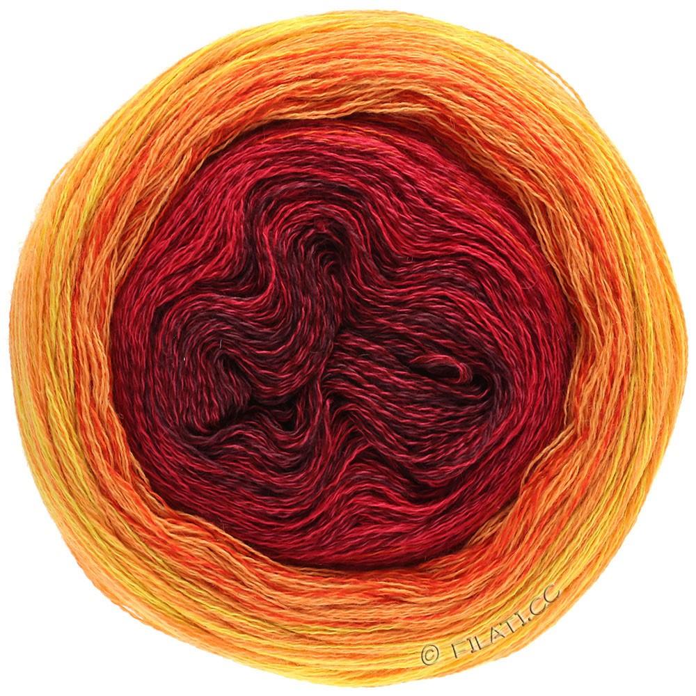 Lana Grossa SHADES OF MERINO COTTON | 603-bordeaux/kirsebærrød/rød/rødorange/lysorange/gul