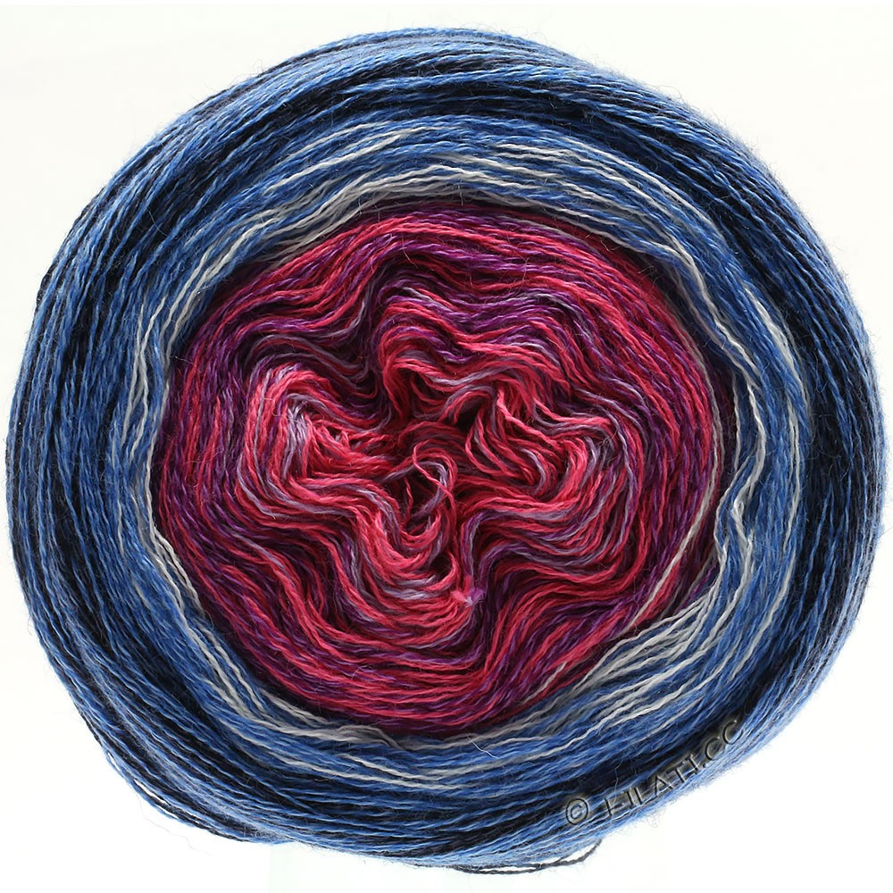 Lana Grossa SHADES OF MERINO COTTON | 604-lilla pink/violet/hvid/gennemsnit blå/blå/sort