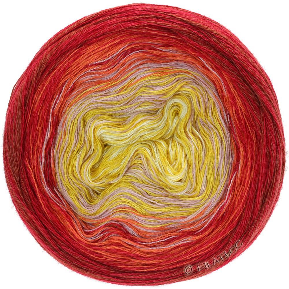 Lana Grossa SHADES OF MERINO COTTON | 607-vanilje/majsgul/gammelrosa/orange/rød