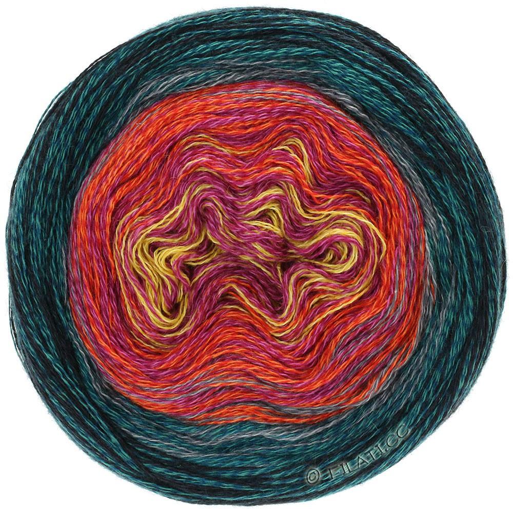 Lana Grossa SHADES OF MERINO COTTON | 608-gul/pink/tomatrød/stålblå/sort