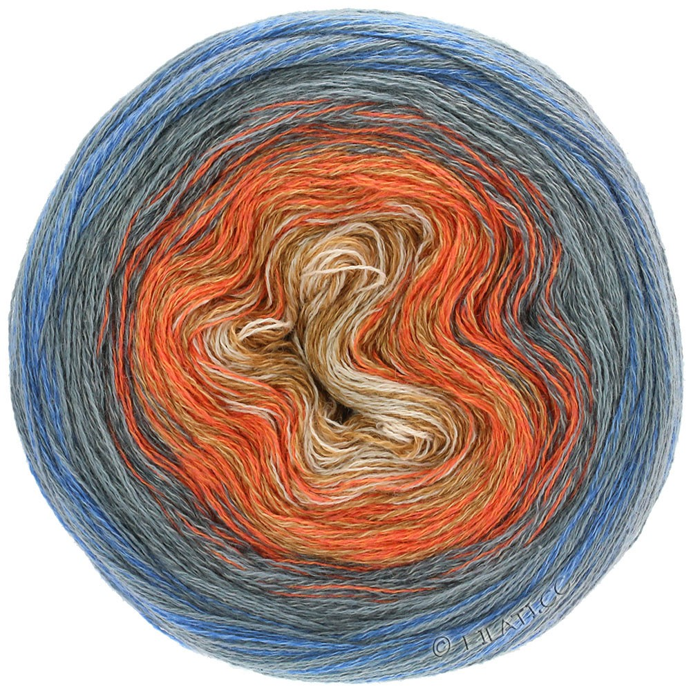 Lana Grossa SHADES OF MERINO COTTON | 609-sand/orange/kaki/mørkegrå