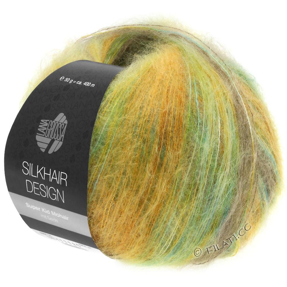 Lana Grossa SILKHAIR Design   1002-turkis/beige/gylden/oliven/gulgrøn