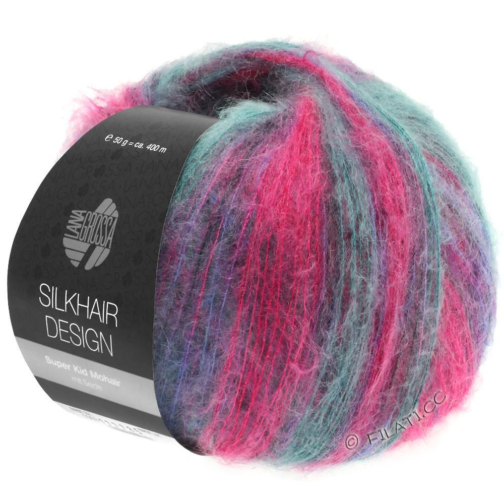 Lana Grossa SILKHAIR Design   1004-pink/brombær/petrol/blåviolet