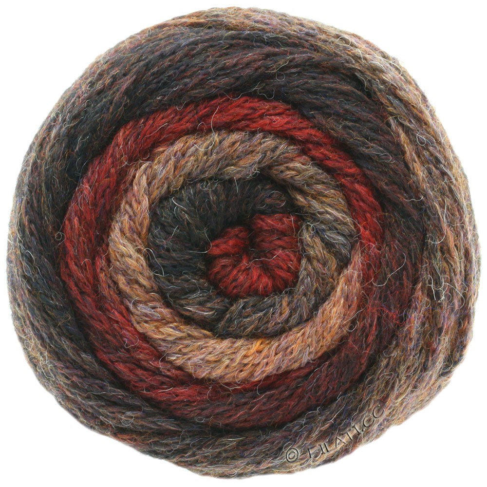 Lana Grossa SUPER COLOR | 107-nougat/mørkerød/gråbrun/mokka