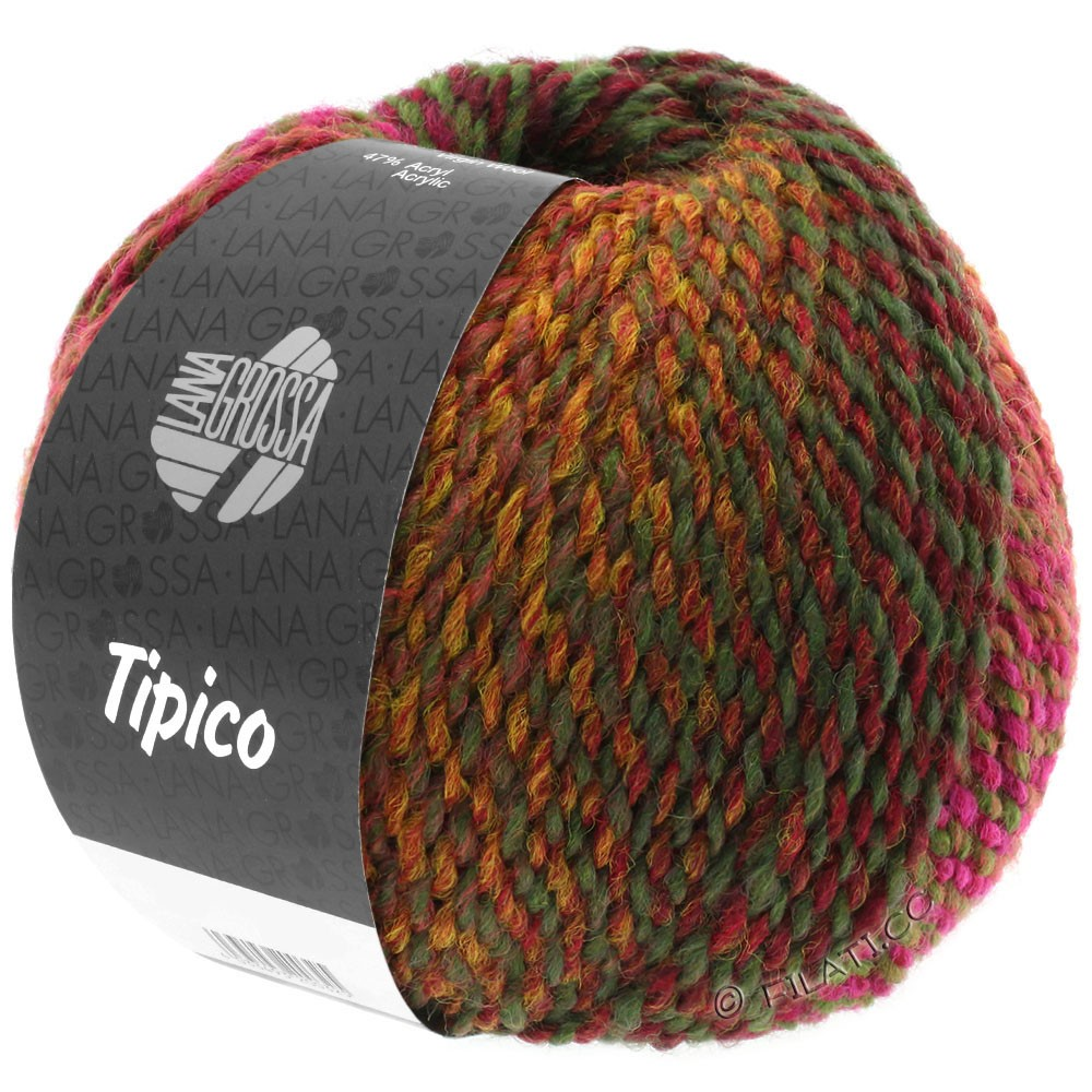 Lana Grossa TIPICO | 02-teglstensrød/bordeaux/brun/kaki