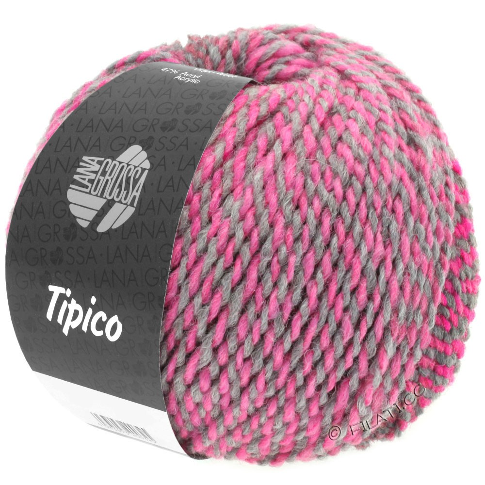 Lana Grossa TIPICO | 04-mørkegrå/pink/hindbær/lysegrå