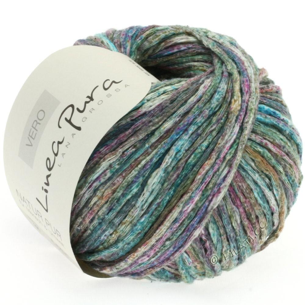 Lana Grossa VERO uni/print (Linea Pura) | 105-mørkegrøn/turkis/violet/mynte