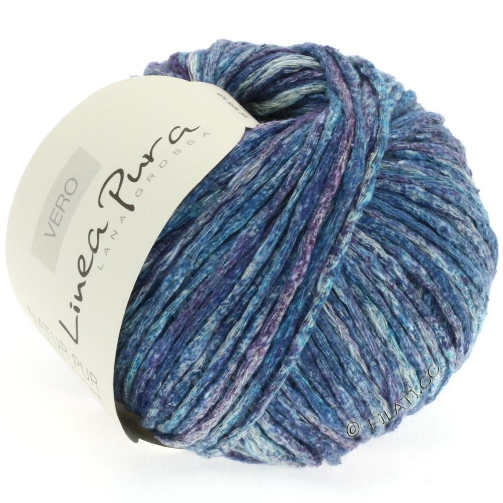 Lana Grossa VERO uni/print (Linea Pura) | 106-petrol blå/violet/natur/jeans