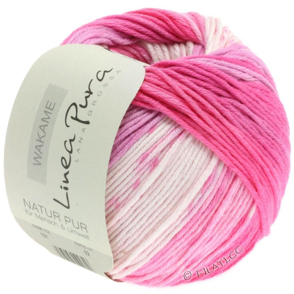 Lana Grossa WAKAME Uni/Print (Linea Pura)   101-hvid/rosa/pink