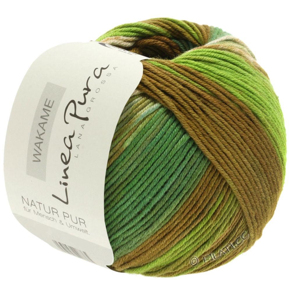 Lana Grossa WAKAME Uni/Print (Linea Pura) | 113-beige/brun/lys grøn/mørk grøn